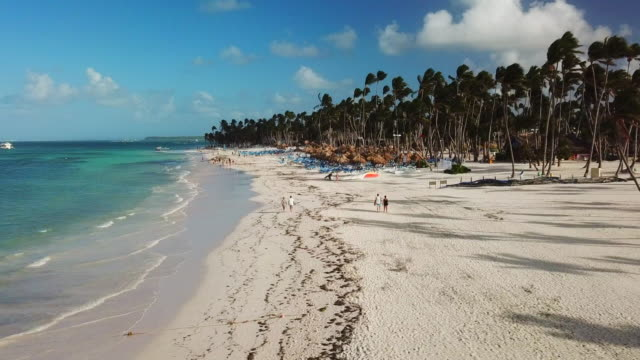 low elevation: beach on a sunny day in punta cana - punta cana stock videos and b-roll footage