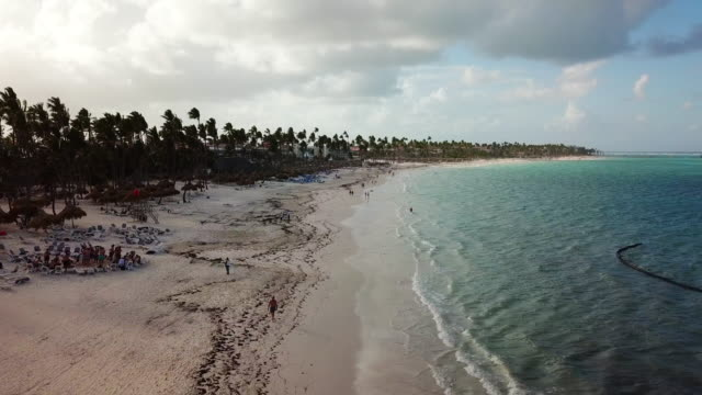 low elevation: people on a beach in punta cana - punta cana stock videos and b-roll footage