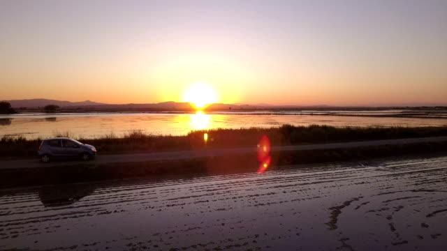 vídeos de stock e filmes b-roll de low flight at sunset over flooded rice fields passing over a car - baixo