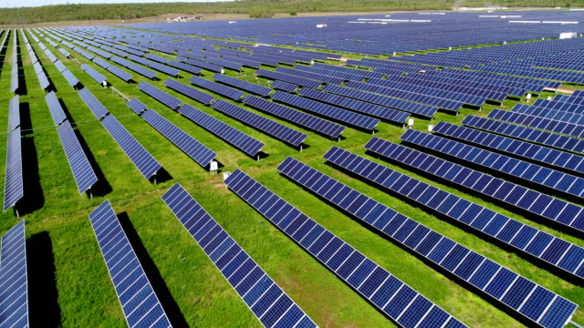 Low Horizon Angle Texas Solar Panel Farm Drone view