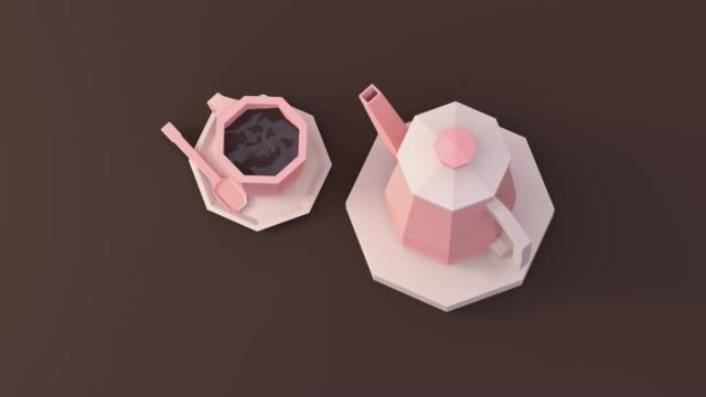 low poly  cartoon style coffee cup brown table floor 3d render - cup stock videos and b-roll footage
