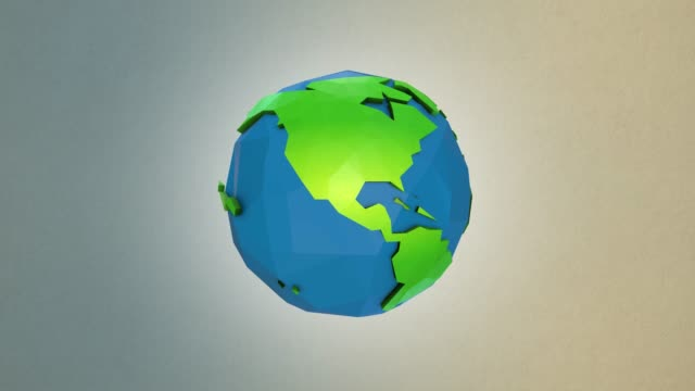 vídeos de stock e filmes b-roll de low poly earth animation - loopable | 4k - modelação low poly