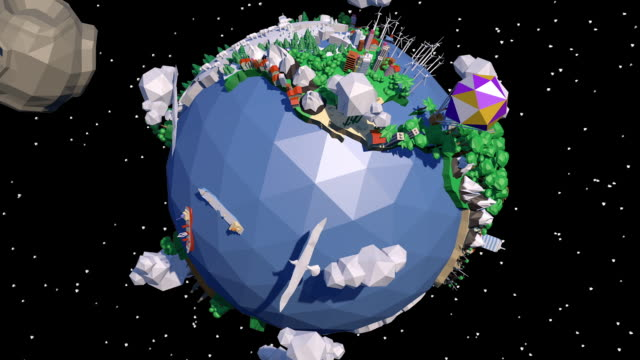 low poly earth - low poly modelling stock-videos und b-roll-filmmaterial