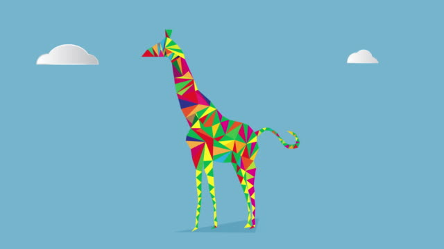 low poly giraffe - giraffe stock videos and b-roll footage