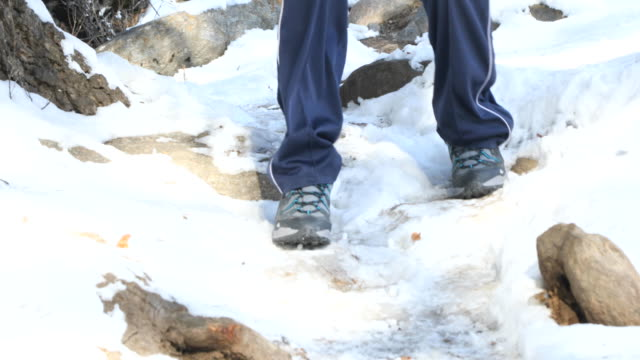 Lage sectie van de mens het lopen op sneeuwveld