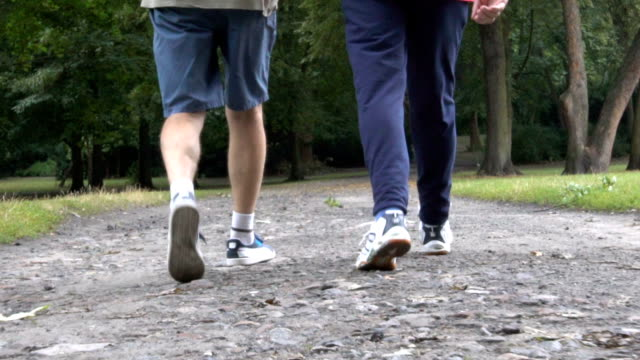 low section of senior men walking on dirt road - two people stock videos & royalty-free footage
