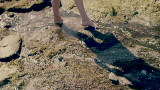 low section of woman wading in water barefoot - kingsand video stock e b–roll