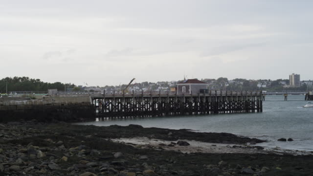 Low tide in Portland harbor with pier and overcast sky.