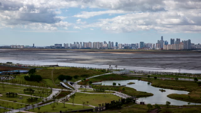 low tide scenery between baegot life park and songdo international business district / siheung, kyonggi-do, south korea - low tide stock videos & royalty-free footage
