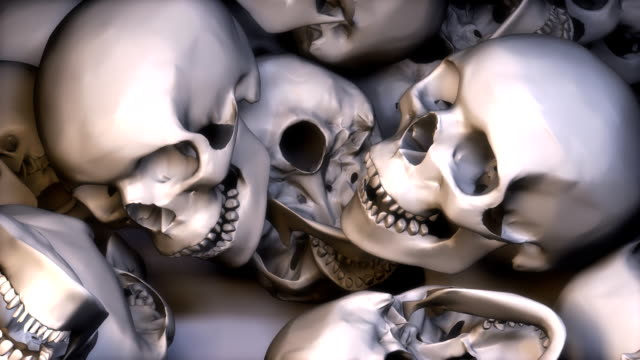 low view, lots of skulls filling the screen - skull stock videos & royalty-free footage