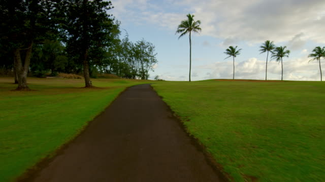 low wide angle tracking shot of a golf course - turtle bay hawaii stock videos and b-roll footage