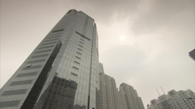 Low-angle pan across Beijing skyscrapers, China.