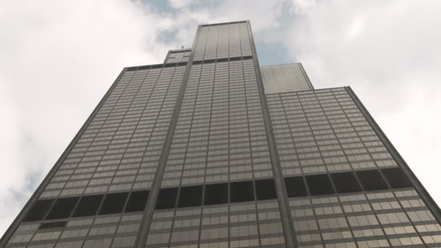 low-angle sequence showing the willis tower, formerly known as the sears tower, in chicago, illinois, usa. - willis tower stock videos and b-roll footage