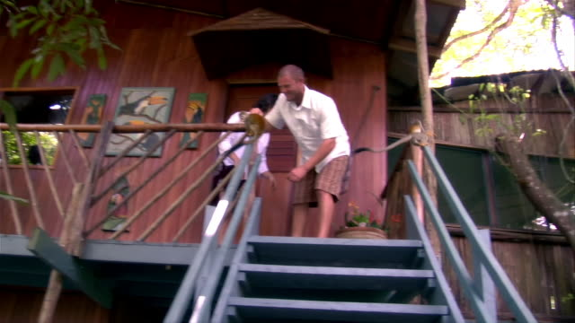 low-angle shot of couple playing with wild monkeys outside lodge at ariau amazon towers in amazon rainforest / brazil - paar mittleren alters stock-videos und b-roll-filmmaterial