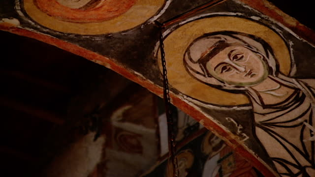 low-angle tilt-down view of medieval frescoes in the monastery church. saint moses the abyssinian is a monastic community of the syriac catholic... - circa 11th century stock videos & royalty-free footage