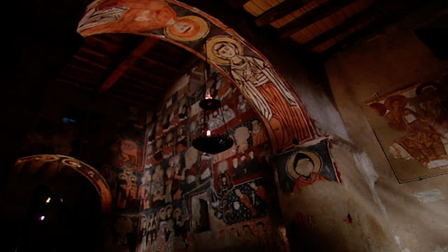 low-angle view of medieval frescoes in the monastery church. saint moses the abyssinian is a monastic community of the syriac catholic church. the... - circa 11th century stock videos & royalty-free footage
