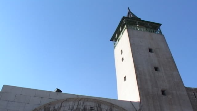 lowangle view of the 12th century minaret built on top of bab sharqi the roman built eastern gate of the city of damascus - circa 12th century stock videos & royalty-free footage