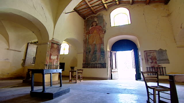 low-angle view of the interior of the church of saint maron in volperino. during the crusades the relics of saint maron, founder of the maronite... - the crusades stock videos & royalty-free footage