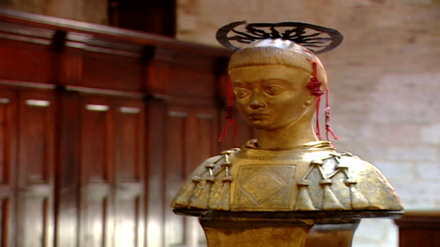 low-angle view of the reliquary of saint maron in saint feliciano cathedral. during the crusades the relics of saint maron, founder of the maronite... - the crusades stock videos & royalty-free footage