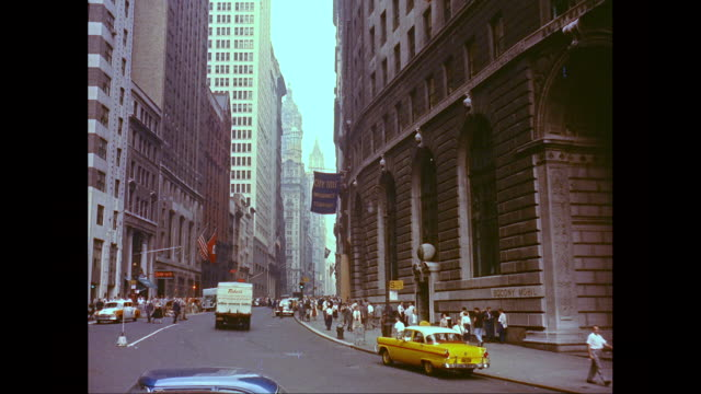 ms lower broadway, people, traffic on the street / lower manhattan, new york city, new york state, united states - new york city 1950s stock videos & royalty-free footage