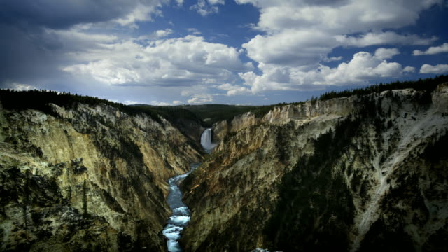 t/l ws lower falls seen from artist point, yellowstone national park, wyoming, usa - river yellowstone stock videos & royalty-free footage