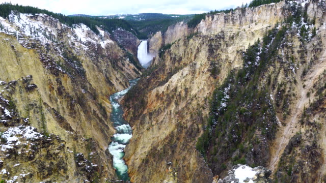 lower falls, yellowstone river, grand canyon of the yellowstone, yellowstone national park, unesco world heritage, wyoming, usa, north america, america - lower yellowstone falls stock videos & royalty-free footage
