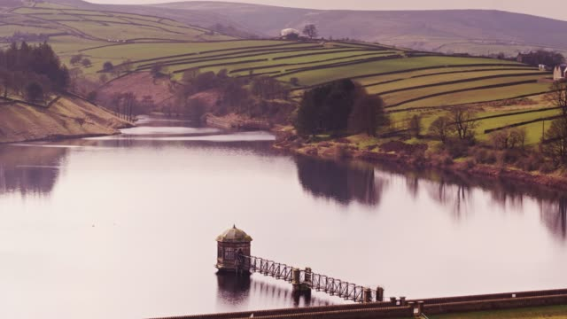 lower laithe reservoir, west yorkshire, england - drone shot - lancashire stock videos and b-roll footage