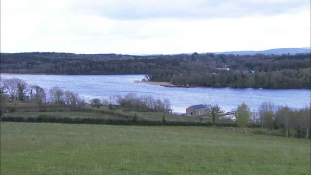 lower lough erne, county fermanagh, northern ireland, pan right - baumgruppe stock-videos und b-roll-filmmaterial