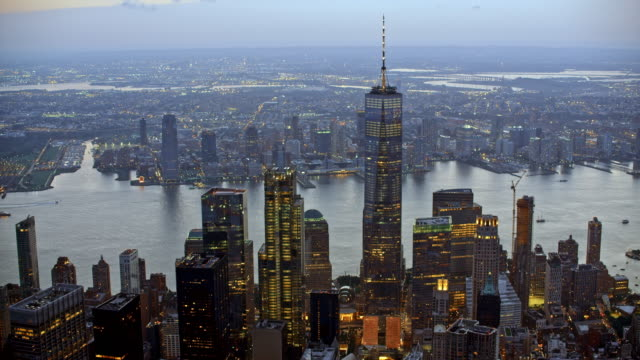 stockvideo's en b-roll-footage met luchtfoto lower manhattan en newport in de schemering - wall street lower manhattan