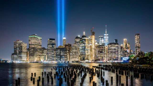 vídeos y material grabado en eventos de stock de t/l ws zi lower manhattan at night / new york city, usa - lugar famoso internacional