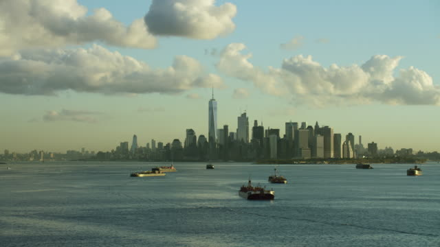 lower manhattan from upper bay - distant stock videos and b-roll footage