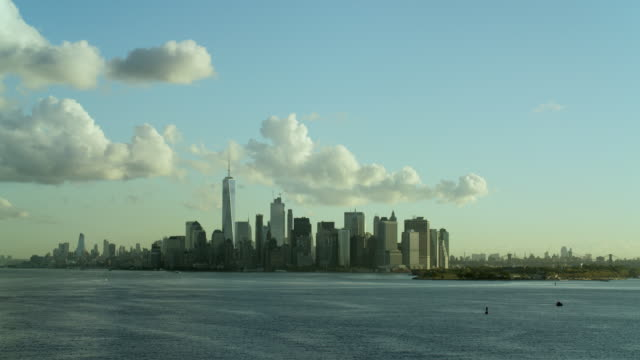 lower manhattan new york city from bay - distant stock videos and b-roll footage