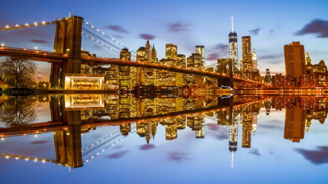 Bajo Manhattan skyline de noche
