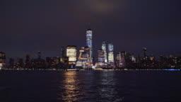 Lower Manhattan skyline, New York skyline at night