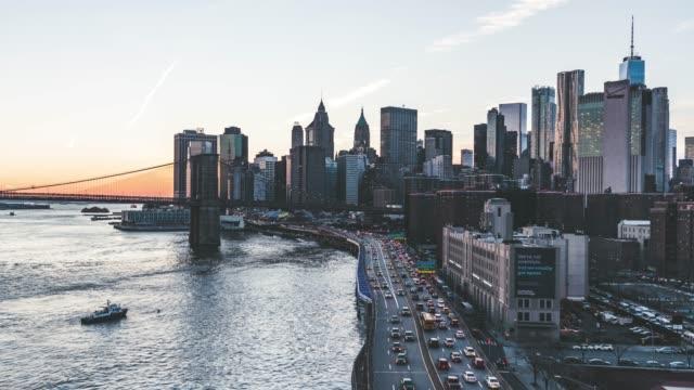 T/L ZO Lower Manhattan skyline, New York skyline at Sunset