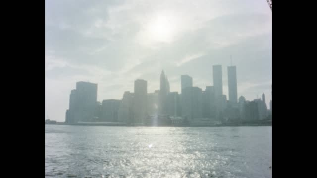 1985 nyc - lower manhattan skyline - world trade center manhattan video stock e b–roll