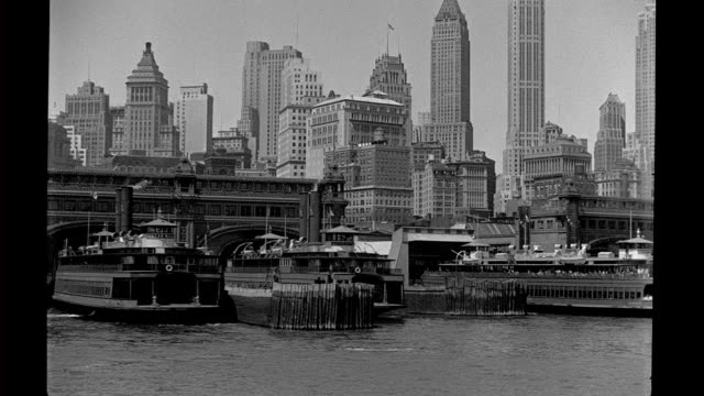 Lower Manhattan Waterfront Ferry Terminals seen from offshore Lower Manhattan waterfront on January 01 1930 in New York City New York