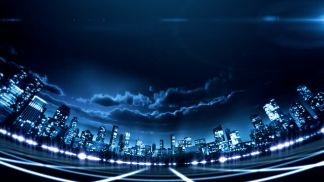 Lower third digital city seen through fish eye lens