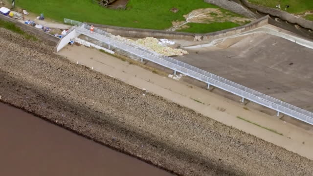 lower water levels in toddbrook reservoir in whaley bridge where the dam is at risk of collapse - surface level stock videos & royalty-free footage