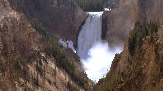 lower yellowstone falls, yellowstone national park, wyoming - lower yellowstone falls stock videos & royalty-free footage