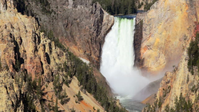 ls, lower yellowstone waterfall, yellowstone national park, montana - lower yellowstone falls stock videos & royalty-free footage
