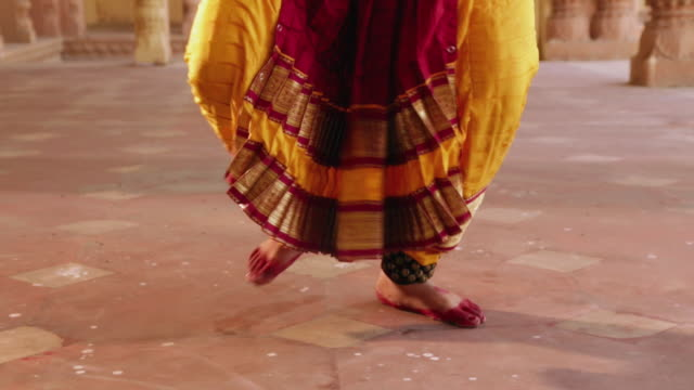 low-section view of a bharatanatyam dancer performing in the palace, ballabgarh, haryana, india - low section stock videos & royalty-free footage
