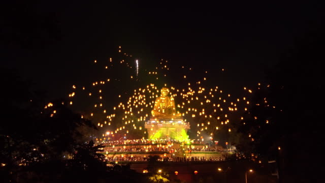 Loy Krathong or Yi Peng day and celebrated on new year is one of the most popular festivals fair world heritage of lamphun, Thailand