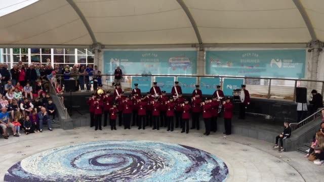 loyalist flute band music played in portrush town as the third round of the open championship reached its conclusion a mile away. several hundred... - ulster province stock videos & royalty-free footage