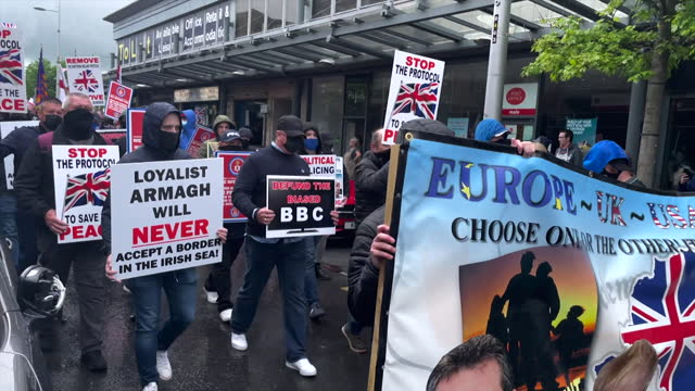 loyalist parade protesting the northern ireland brexit protocol in belfast - placard stock videos & royalty-free footage