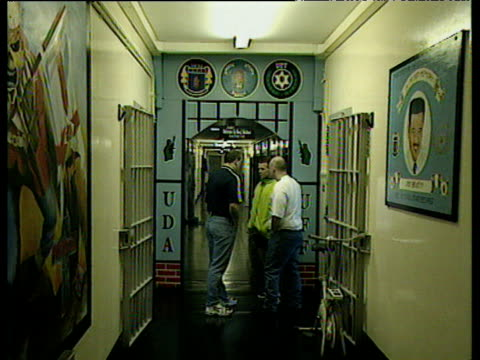 Loyalist prisoners section of Maze Prison with paramilitary and sectarian symbols and murals on walls Belfast 08 Jan 98