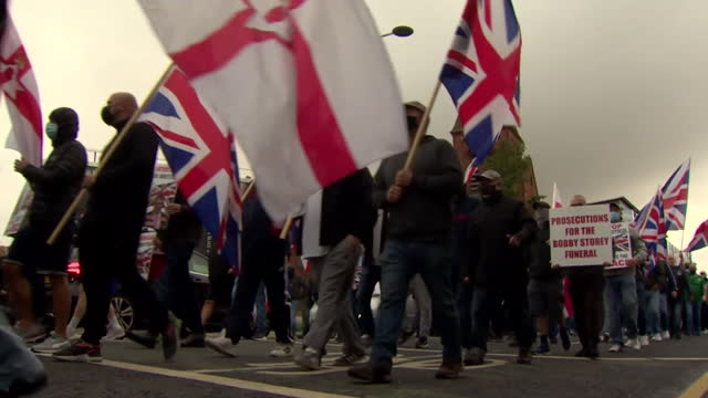 loyalist protest in northern ireland opposing the post brexit norther ireland protocol, which creates a trade border with great britain, and they... - symbol stock videos & royalty-free footage