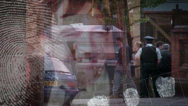 loyalist 'supergrass' has jail term slashed date police along street with fingerprints overlaid / stills eamon fox and gary convey overlaid /... - fingerprint stock videos & royalty-free footage