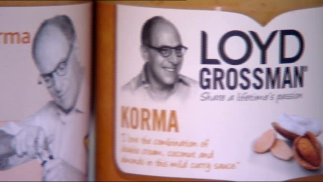 loyd grossman korma sauce curry sauce poisoning: victims improving; england: london: int close shot of bottles of loyd grossman korma sauce close... - loyd grossman stock videos & royalty-free footage