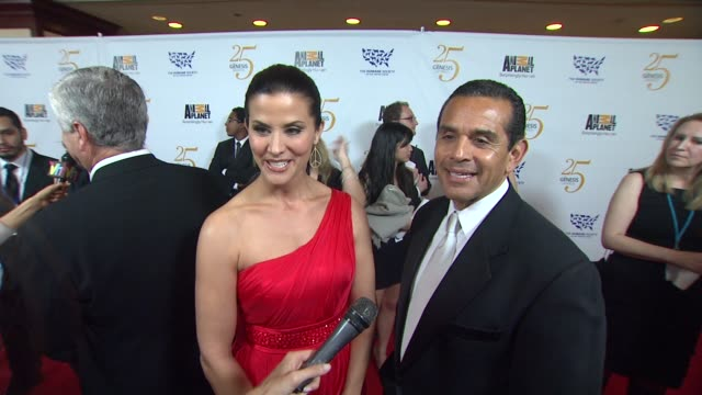lu parker and mayor antonio villaraigosa on the event animal issues at the the 25th anniversary genesis awards presented by the humane society of the... - antonio villaraigosa stock videos and b-roll footage